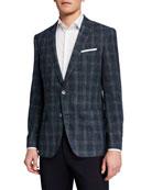 BOSS Men's Slim Windowpane Sport Jacket