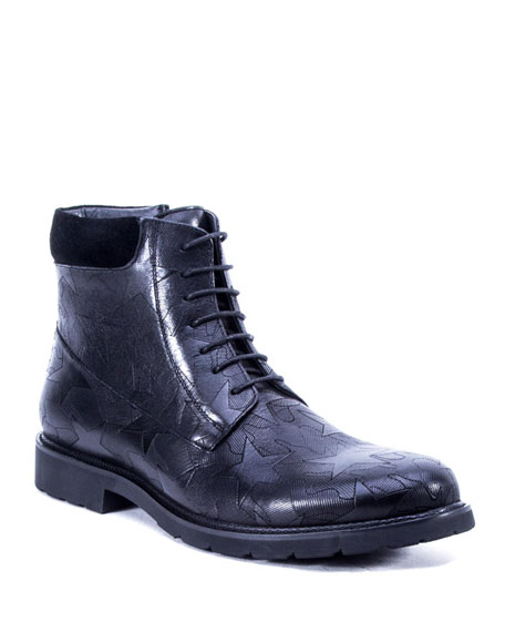 Badgley Mischka Men's William Star-Print Leather Ankle Boots