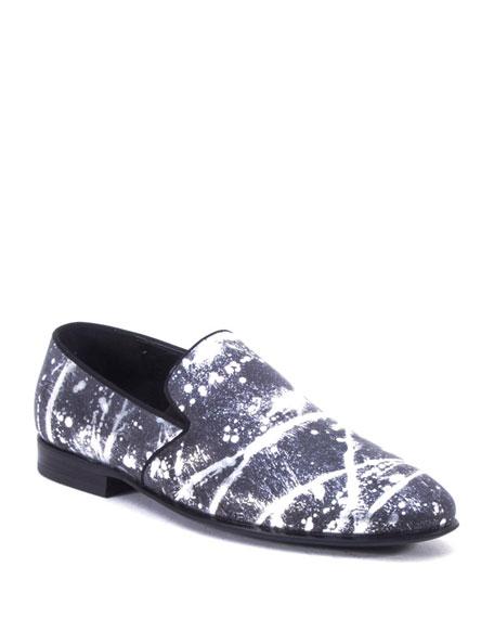 Badgley Mischka Men's Peter Metallic Paint-Splatter Leather Loafers