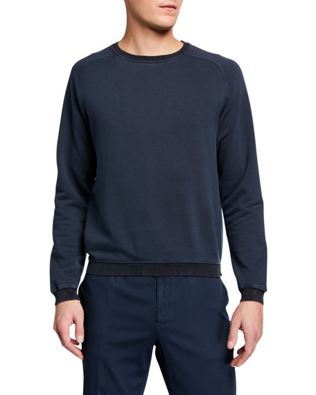 Boglioli Men's Garment-Washed Raglan Sweatshirt