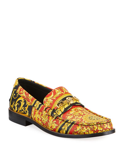 Men's Barocco-Print Medusa Loafers