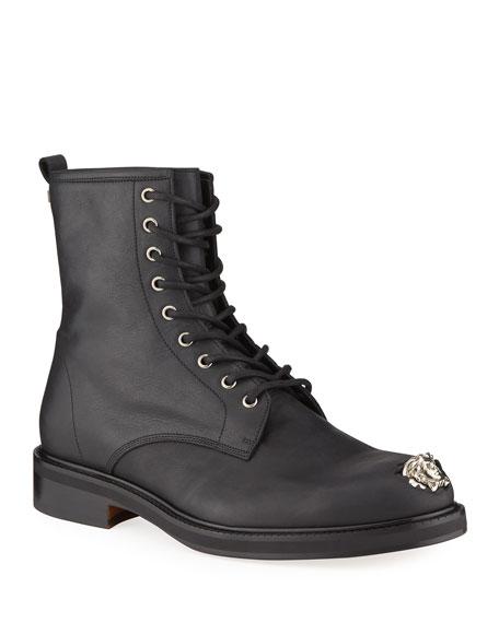 Versace Men's Leather Medusa Combat Boots