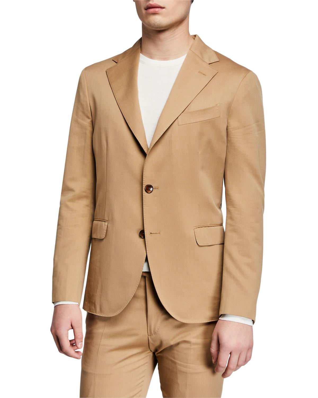 Men's Solero Solid Wool-Cotton Two-Piece Suit