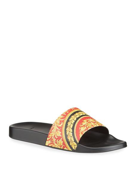 Versace Men's Baroque-Print Slide Sandals