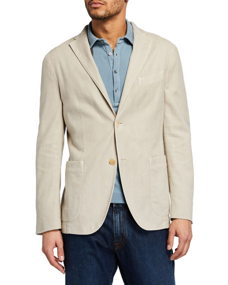Boglioli Men's Herringbone Cotton-Linen Blazer