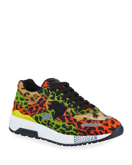 Versace Men's Multicolor Leopard-Print Canvas Sneakers