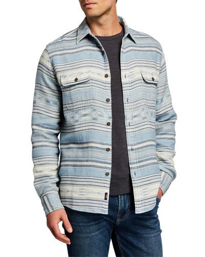 Men's Horizontal Stripe Dual-Pocket Shirt Jacket