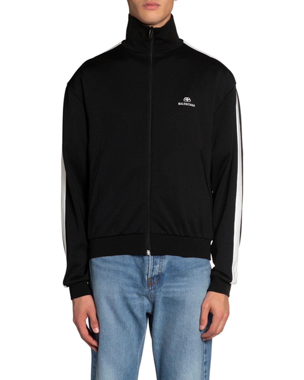 Balenciaga Jackets MEN'S LOGO-PRINT JERSEY CHECK JACKET