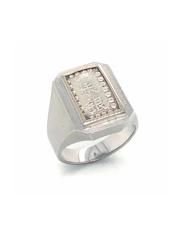 Men's 18K White Gold Ancient Samurai Coin Ring