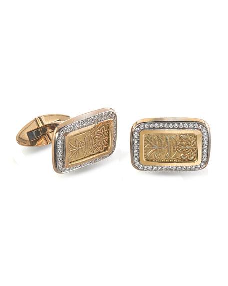 Jorge Adeler Men's Ancient Coin 18k Gold Cufflinks w/ Pavé Diamonds