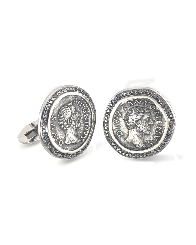 Men's 18k White Gold Ancient Coin Cufflinks