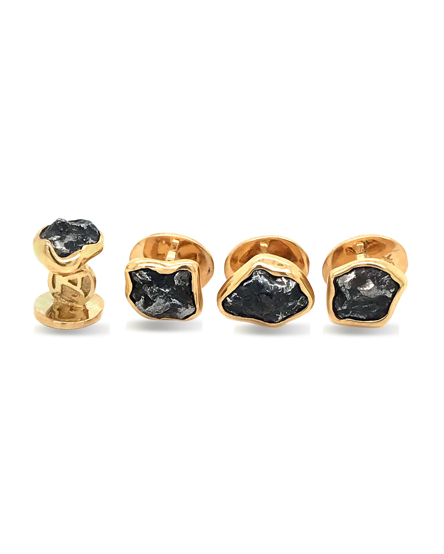 Men's Iron Meteorite 18k Gold Stud Set