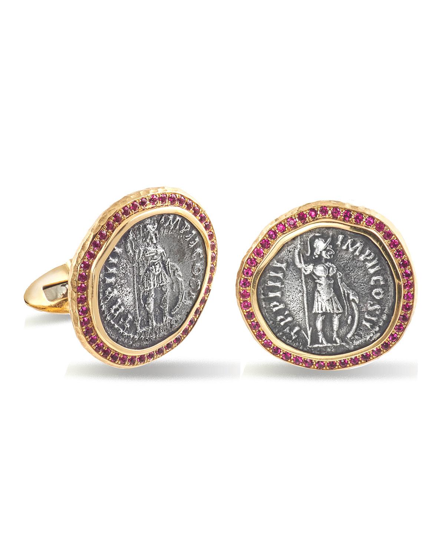 Men's Ancient Coin 18k Gold Cufflinks