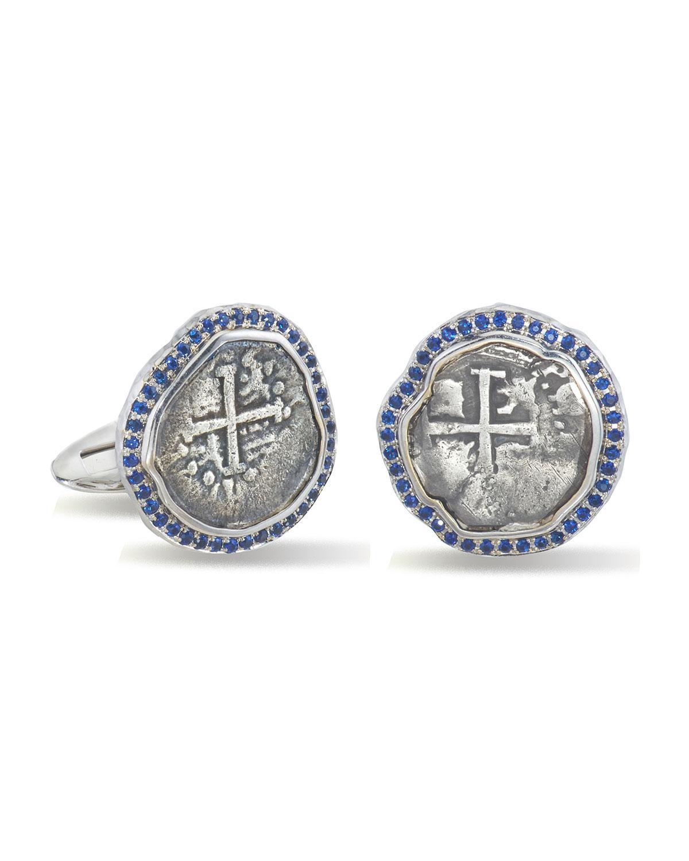 Men's Ancient Coin 18k White Gold Cufflinks