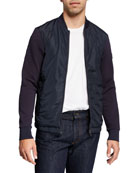 BOSS Men's Nylon-Front Bomber Jacket