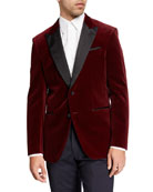 BOSS Men's Peak-Lapel Velvet Jacket