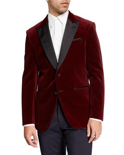 Men's Peak-Lapel Velvet Jacket