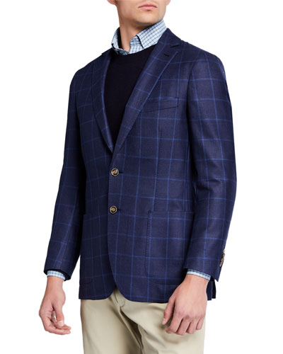 Men's Windowpane Check Wool-Blend Sport Jacket