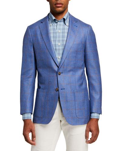 Men's Windowpane Soft Two-Button Jacket