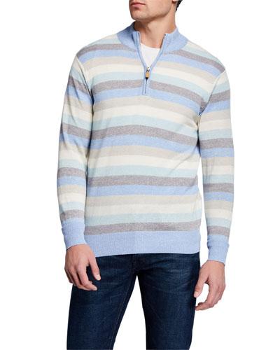 Men's Summer Stripe Quarter-Zip Sweater