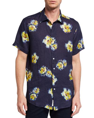 Men's Hopeland Paint Bloom Linen Sport Shirt