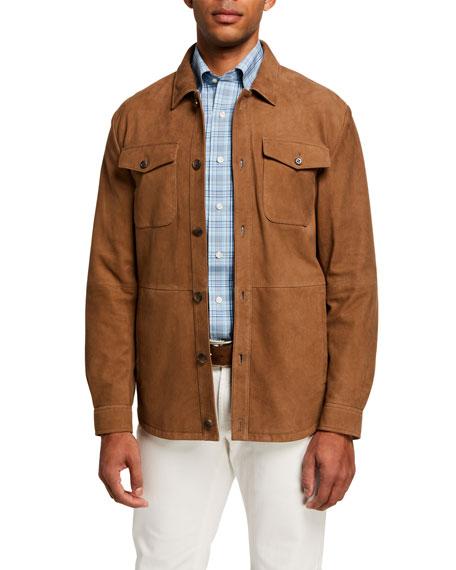 Peter Millar Men's Suede Unlined Shirt Jacket