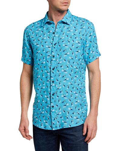 Men's Anatori Toucan-Print Linen Sport Shirt
