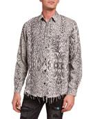 Amiri Men's Leopard-Print Flannel Sport Shirt