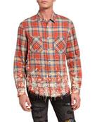 Amiri Men's Splatter Plaid Sport Shirt
