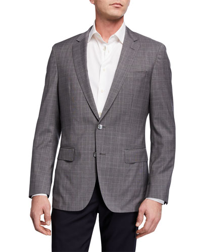 Men's Glen Plaid Slim-Fit Two-Button Jacket
