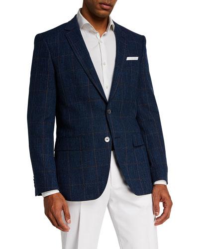 Men's Hutsons Windowpane Wool-Blend Sport Jacket