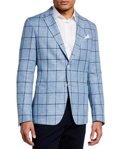 Men's Nold Linen-Blend Windowpane Sport Jacket
