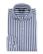 BOSS Men's Slim-Fit Washed Striped Dress Shirt
