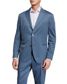 Boglioli Men's Solero Solid Wool-Cotton Two-Piece Suit, Cadet