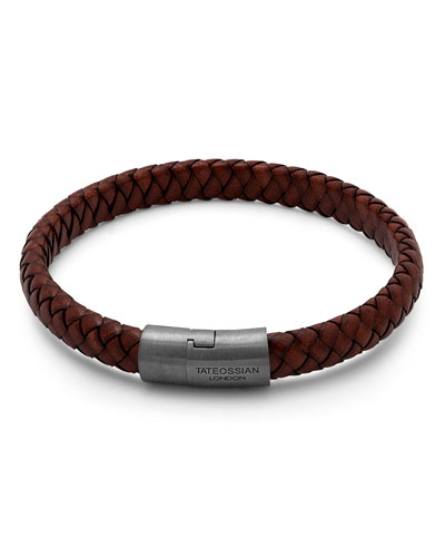 Men's Braided Leather & Rhodium-Plated Bracelet, Size M-L