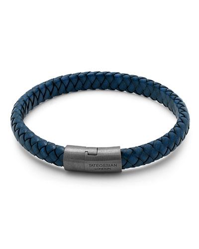 Men's Braided Leather & Rhodium-Plated Bracelet, Size M-L