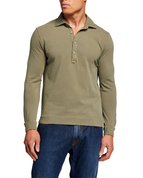 Boglioli Men's Long-Sleeve Pique Polo Shirt