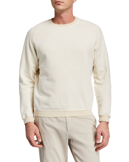 Boglioli Men's Garment-Washed Raglan Sweatshirt