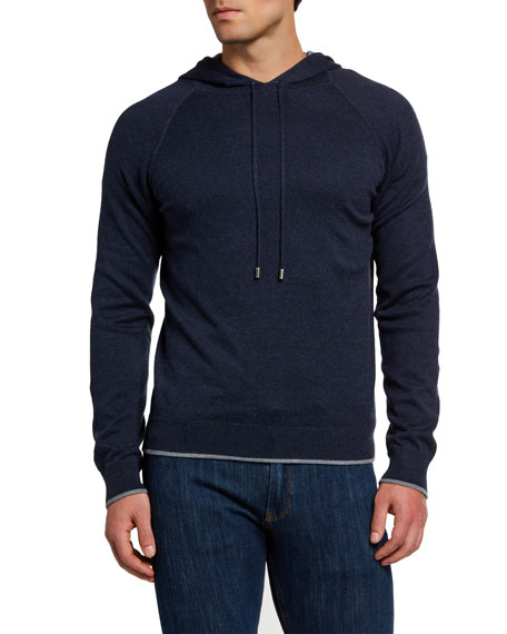 Boglioli Men's Solid Cotton/Cashmere Hooded Sweatshirt