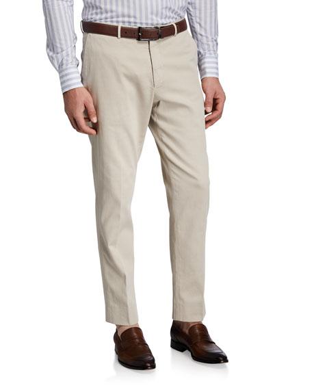 Boglioli Men's Stone-Textured Flat-Front Pants