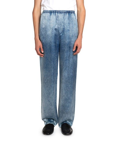 Men's Denim-Printed Satin Pants