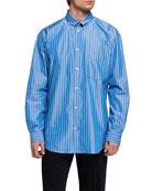 Balenciaga Men's Oversized Pinstripe Poplin Sport Shirt with