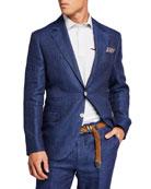 Brunello Cucinelli Men's Two-Piece Pinstriped Linen Suit