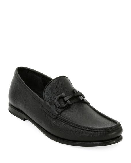 Salvatore Ferragamo Men's Textured Leather Gancini Moccasin Loafer