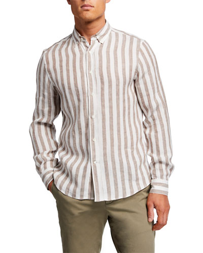 Men's Bengal Striped Linen Sport Shirt