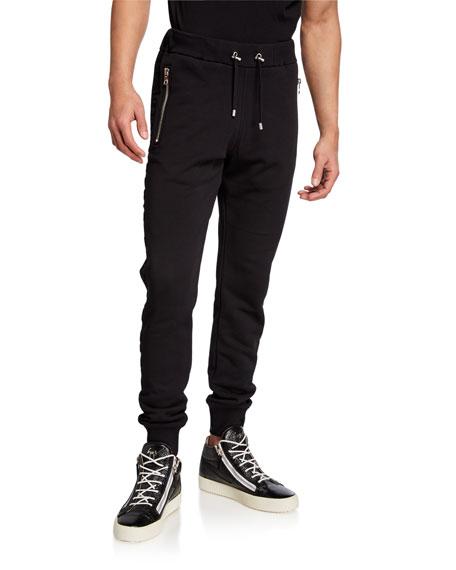 Balmain Men's Embossed Logo Zip-Pocket Sweatpants