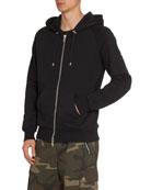 Balmain Men's Solid Embossed-Sleeve Zip-Front Hoodie Sweatshirt