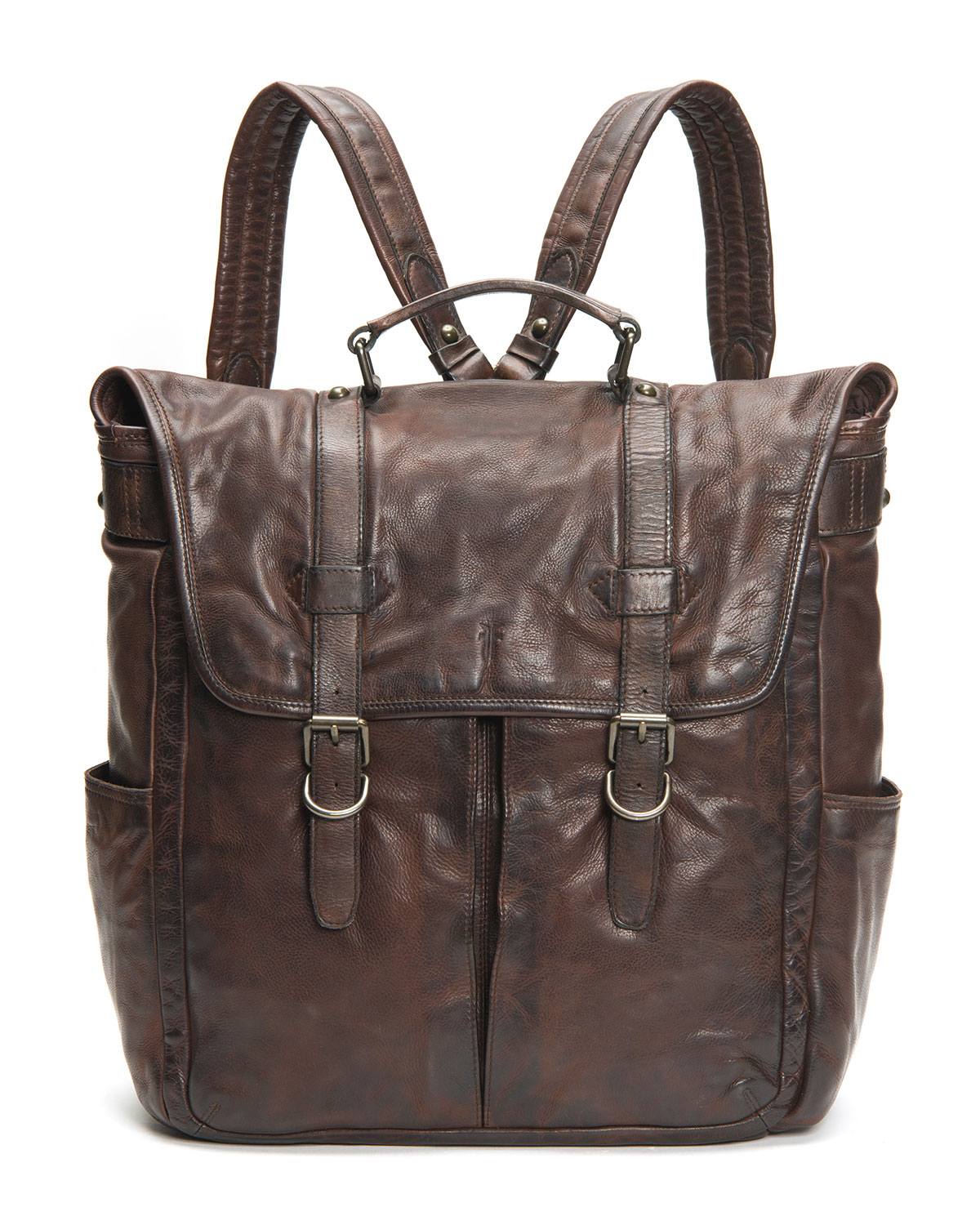 Frye Backpacks MEN'S MURRAY ANTIQUED LEATHER BUCKLE BACKPACK
