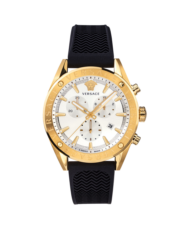 Men's 44mm Rubber Chronograph Watch