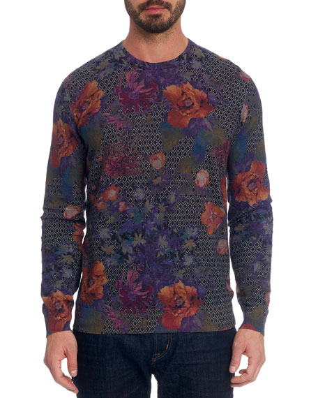 Robert Graham Men's Hawkeye Floral Linen-Cotton T-Shirt